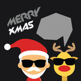 Иллюстрация милого Санта Клауса и северного оленя Стоковое Изображение