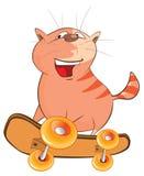 Иллюстрация милого скейтбордиста кота головка дерзких милых собак персонажа из мультфильма предпосылки счастливая изолировала бел Стоковая Фотография RF