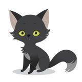 Иллюстрация милого счастливого характера черного кота шаржа иллюстрация штока