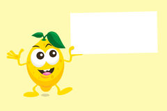Иллюстрация милого талисмана лимона с ярлыком предложения Стоковые Изображения