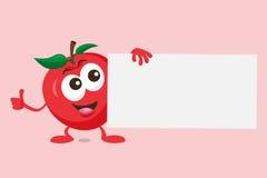 Иллюстрация милого талисмана яблока с ярлыком предложения Стоковая Фотография RF