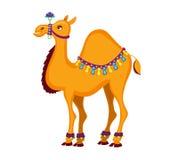 Иллюстрация милого украшенного шаржа верблюда Стоковые Изображения