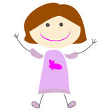 Иллюстрация милого шаржа девушки детей простая Стоковое Изображение