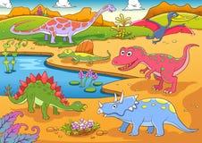 Иллюстрация милого шаржа динозавров иллюстрация вектора
