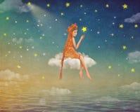 Иллюстрация милой девушки сидя на луне в ночном небе иллюстрация вектора