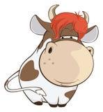 Иллюстрация милой коровы головка дерзких милых собак персонажа из мультфильма предпосылки счастливая изолировала белизну усмешки Стоковое Фото