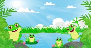 Иллюстрация много лягушки играя в реке Стоковые Изображения
