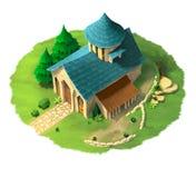 Иллюстрация монастыря Сцена фантазии Бесплатная Иллюстрация