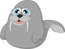 Иллюстрация моржа шаржа Стоковое Изображение RF