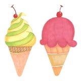 Иллюстрация мороженого нарисованная вручную Стоковое Изображение