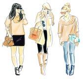 Иллюстрация модных женщин Стоковое Изображение