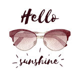 Иллюстрация моды акварели при солнечные очки изолированные на белых предпосылке и литерности Стоковое Изображение