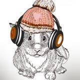 Иллюстрация моды битника с кроликом слушает музыка в наушниках бесплатная иллюстрация