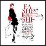 Иллюстрация моды с цитатой Современная женщина и белая предпосылка Стоковое Изображение RF
