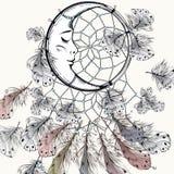 Иллюстрация моды Boho племенная с dreamcatcher и пер иллюстрация штока