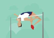 Иллюстрация мужского спортсмена состязаясь в событии высокого прыжка Стоковые Изображения