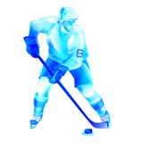 Иллюстрация нападения хоккеиста Иллюстрация вектора