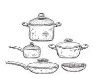 Иллюстрация нарисованная рукой посуды Стоковое Фото