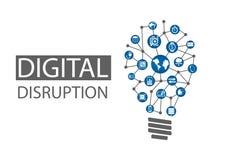 Иллюстрация нарушения цифров Концепция разрушительных идей дела любит вычислить везде, аналитик, умные машины Стоковое Фото