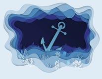 Иллюстрация дна моря и шлюпки анкера Стоковое Фото