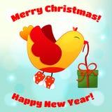 Иллюстрация на рождество и Новый Год с потехой Стоковые Изображения