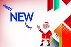 иллюстрация Нового Года 3d santa счастливая Стоковая Фотография