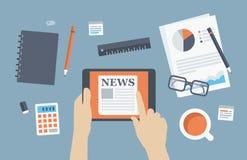 Иллюстрация новостей чтения менеджера плоская Стоковая Фотография