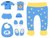 Иллюстрация носки одежды ребенка платья вскользь ткани ткани установленного дизайна значка одежд младенца вектора красочная Стоковая Фотография RF