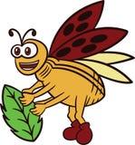Иллюстрация нося шаржа лист Ladybug Стоковые Изображения