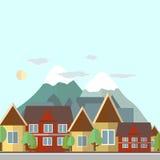 Иллюстрация дня ландшафта плоского дизайна городская на предпосылке  Стоковое Фото