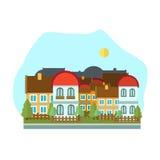 Иллюстрация дня ландшафта плоского дизайна городская Стоковые Фотографии RF