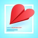 Иллюстрация дня валентинок Красный самолет бумаги сформированный сердца дальше Стоковая Фотография