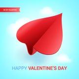 Иллюстрация дня валентинок Красный самолет бумаги сформированный сердца Стоковые Изображения RF