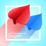 Иллюстрация дня валентинок Пары бумажных самолетов сформированных его Стоковые Изображения