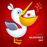 Иллюстрация дня валентинок Пеликан держа конверт с сердцем Стоковое Изображение RF