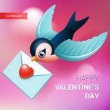 Иллюстрация дня валентинок Птица с письмом влюбленности Стоковое Изображение