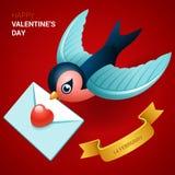 Иллюстрация дня валентинок Птица с письмом влюбленности Стоковые Изображения RF
