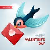 Иллюстрация дня валентинок Птица с письмом влюбленности Стоковые Изображения