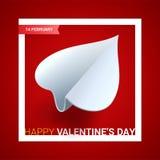 Иллюстрация дня валентинок Самолет белой бумаги сформированный сердца o Стоковые Изображения RF