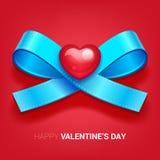 Иллюстрация дня валентинок Тесемка с сердцем Стоковые Фото