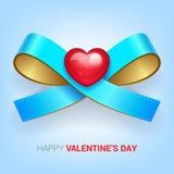 Иллюстрация дня валентинок Тесемка с сердцем Стоковое Фото