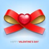 Иллюстрация дня валентинок Тесемка с сердцем Стоковые Изображения RF