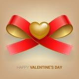 Иллюстрация дня валентинок Тесемка с сердцем Стоковая Фотография RF
