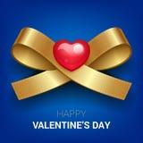 Иллюстрация дня валентинок Тесемка с сердцем Стоковые Изображения