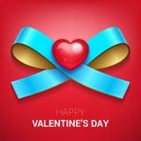 Иллюстрация дня валентинок Тесемка с сердцем Стоковое Изображение RF