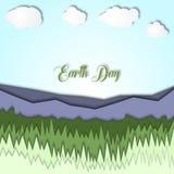 Иллюстрация дня земли 3d с ландшафтом гор, с травой и ясным небом Символизм экологичности, системы eco, планеты Стоковое Изображение