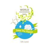 Иллюстрация дня мировой окружающей среды Зеленая земля Eco Стоковое Изображение