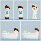 Иллюстрация образа жизни шаржа человека зарплаты времени ливня туалета ванны Стоковые Фото