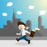Иллюстрация образа жизни шаржа человека зарплаты времени спешности Стоковое Изображение