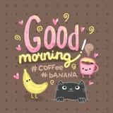Иллюстрация доброго утра с кофе, котом. Стоковая Фотография